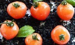 Tomates cherries macerados con aceite de albahaca - Aperitivo