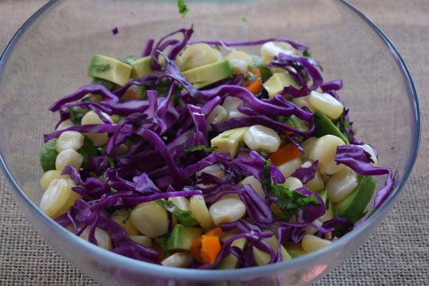 Ceviche de lombarda - ingredientes en maceración