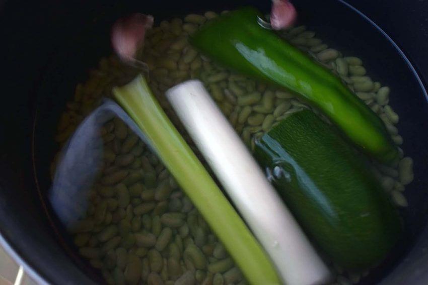 Judias verdinas con calabaza caldo