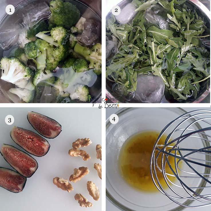 Ensalada de rúcula, patata, higos, nueces y vinagreta de mostaza